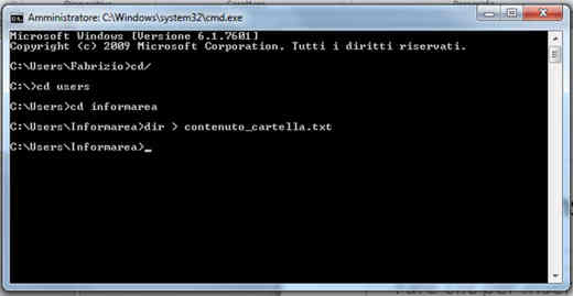 msdos - Come stampare elenco file di una cartella Windows