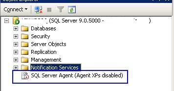 1.SQL Agent showing stopped - Come ripristinare SQL Server Agent quando l'Agent XPs è disabilitato