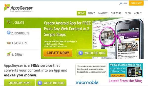 AppGeyser - Come creare un'app per Android del proprio Sito senza programmare