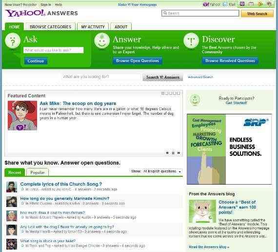 yahoo answers - Promuoviamo il nostro sito su Yahoo! Answers