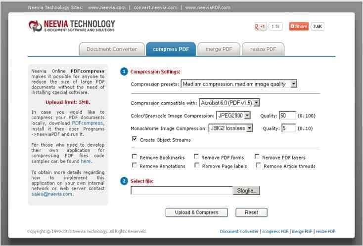 PDFCompress - Come alleggerire i file PDF di grandi dimensioni