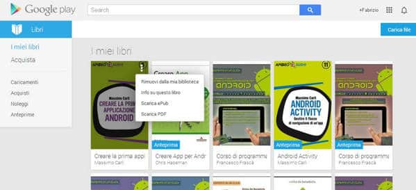 Google Play libri - Come convertire un eBook da ACSM a ePub e PDF