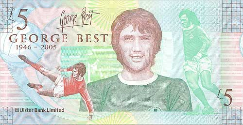 george best banconota 5 sterline - Omaggio a George Best: il suo volto è sulle banconote da cinque sterline