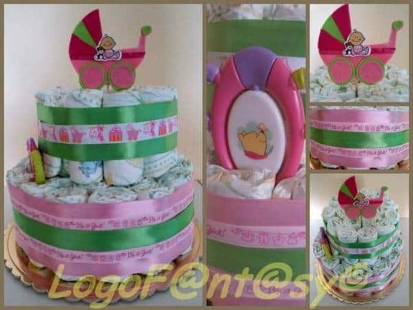 logofantasy - La torta di pannolini: un regalo originale per la nascita di un bimbo