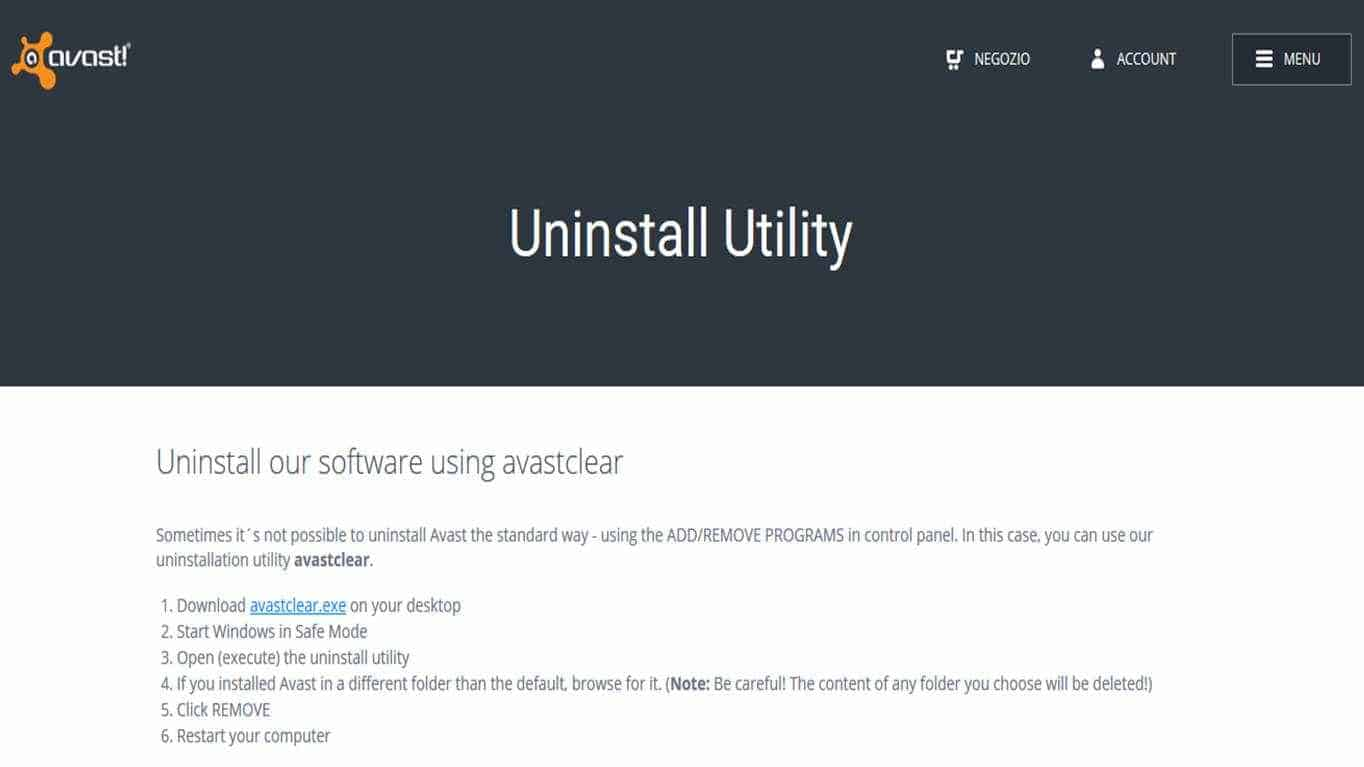 AvastClear - Come rimuovere l'antivirus Avast