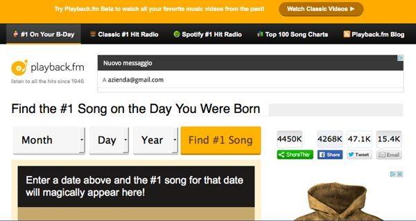 playback - Scopri la canzone in vetta alle classifiche il giorno della tua nascita