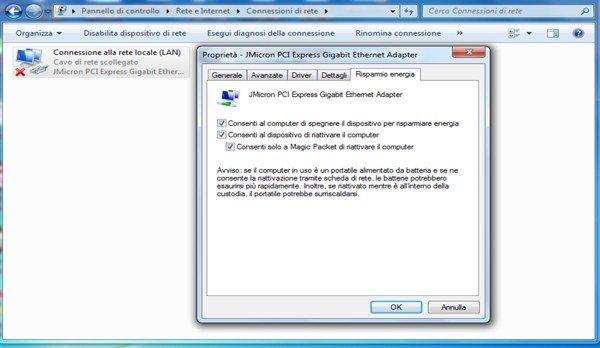 Consenti riattivazione PC - Le configurazioni manuali per il controllo remoto del PC