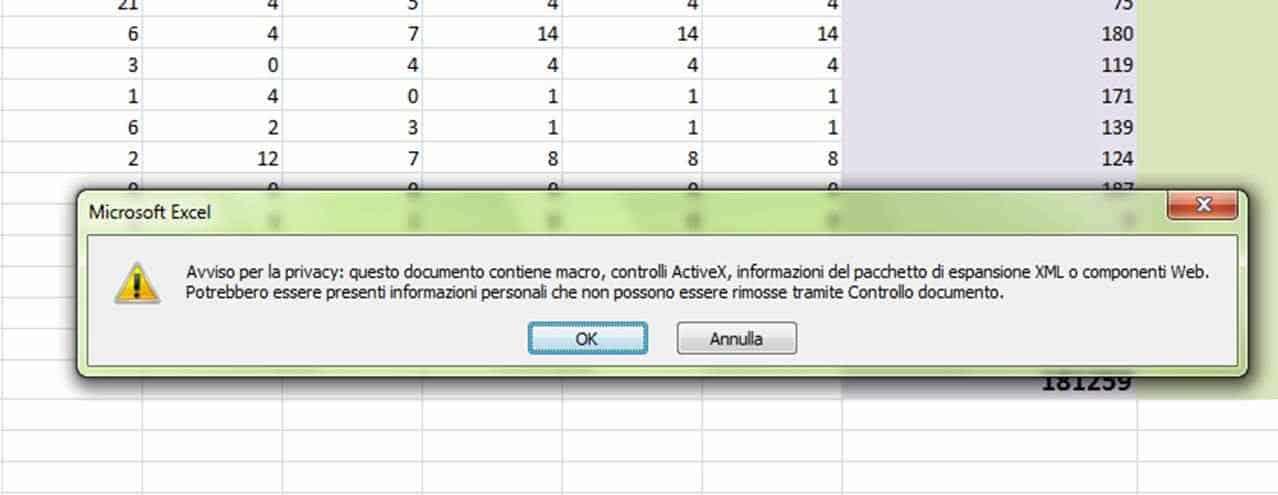 """Rimuovi Informazioni Personali4 - Excel: come risolvere il messaggio """"Avviso per la privacy: questo documento contiene macro, controlli ActiveX.."""""""