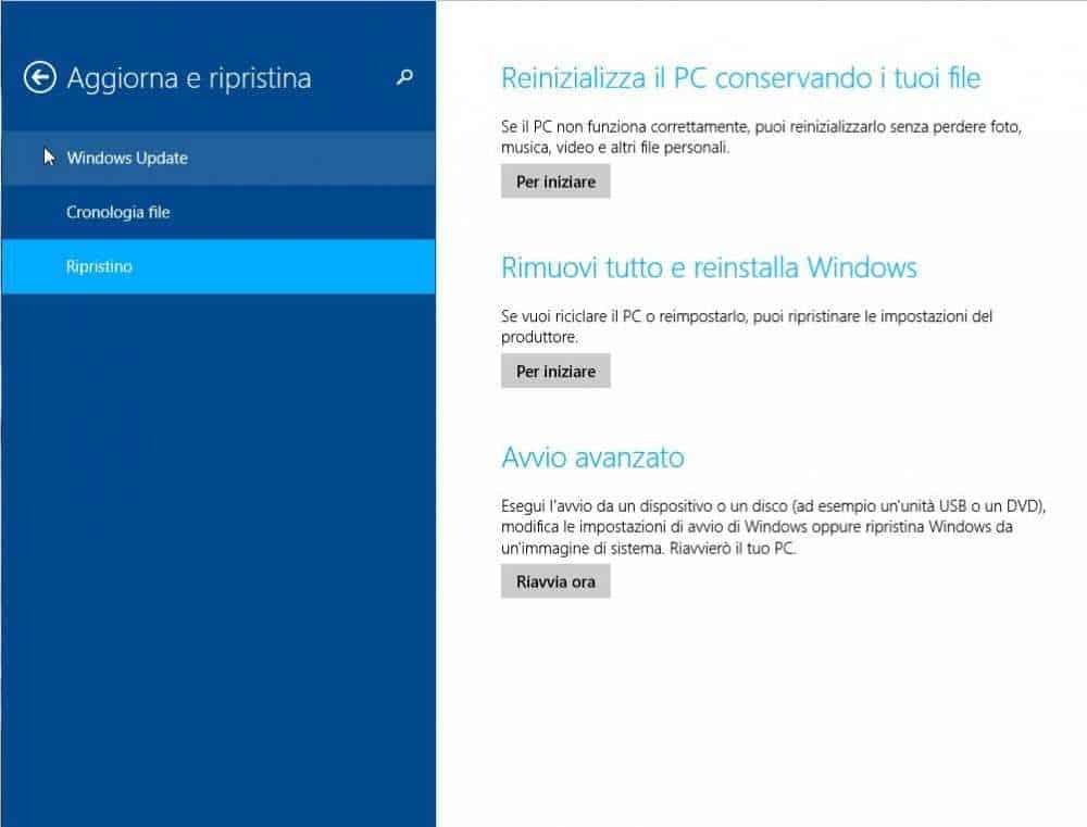 Come ripristinare Windows 8 1 - Come effettuare il ripristino di Windows 8.1