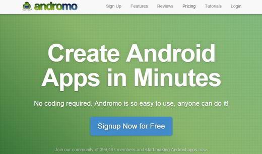 andromo sc - Come creare app Android gratis senza scrivere codice