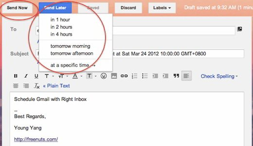 right inbox for gmail - Come posticipare l'invio di email con Gmail