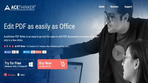 AceThinker PDF Writer Homepage - Come modificare un file PDF con AceThinker PDF Writer