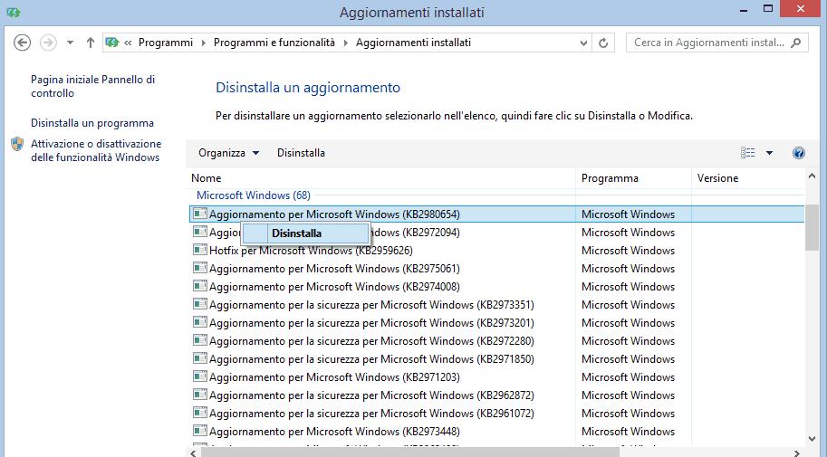 disinstallare aggiornamenti windows 10 con anomalie