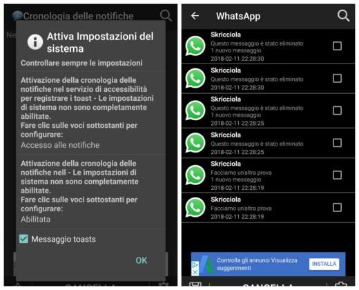 Come visualizzare messaggi eliminati whatsapp