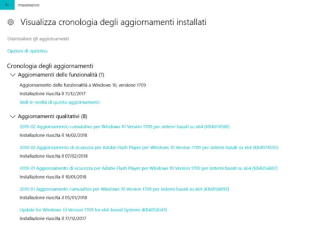 eliminare aggiornamenti Windows 10