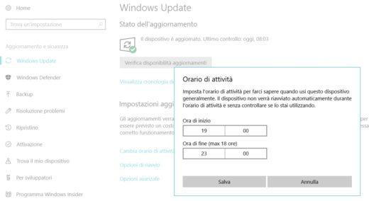 Windows 10 programmare gli aggiornamenti