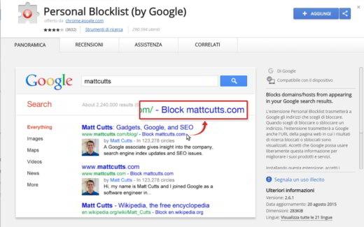 Personal Blocklist Chrome
