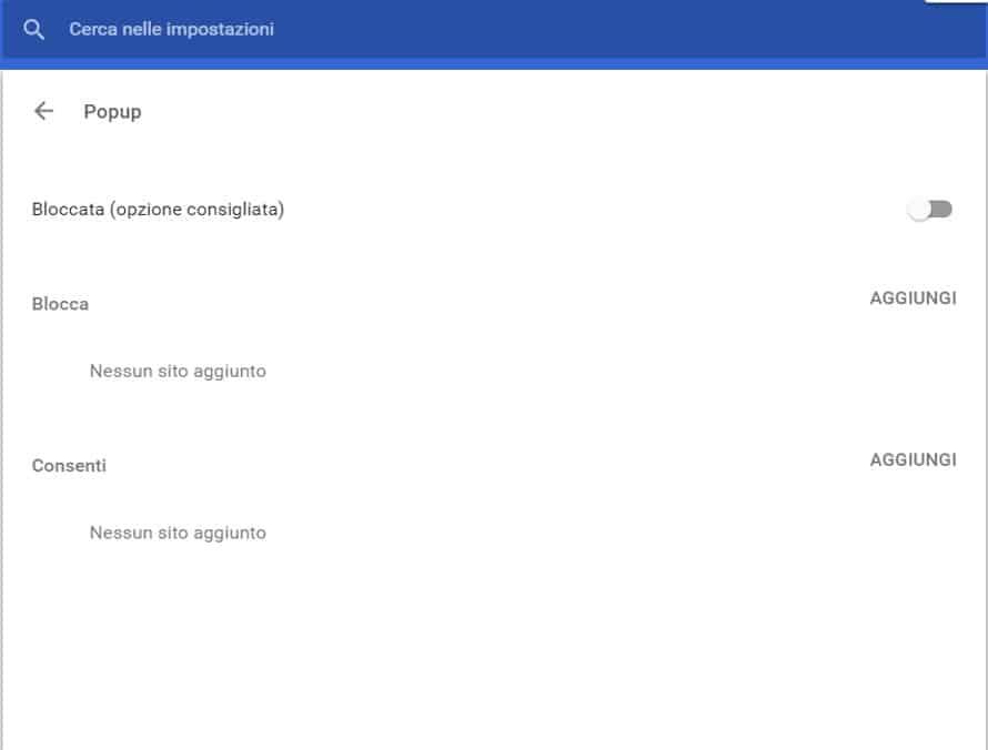 Attivare blocco popup su Chrome