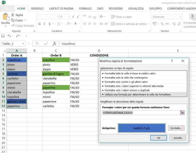 Come trovare le differenze tra colonne Excel