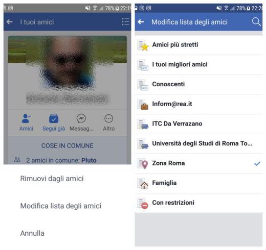 lista conoscenti facebook su smartphone