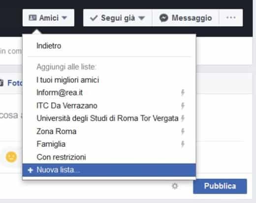 Nuova lista Facebook
