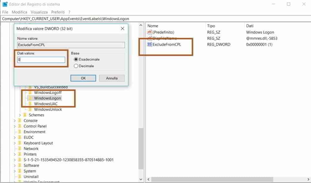 come personalizzare suoni di avvio di windows 10