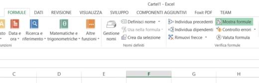 Visualizzare le formule di un foglio Excel
