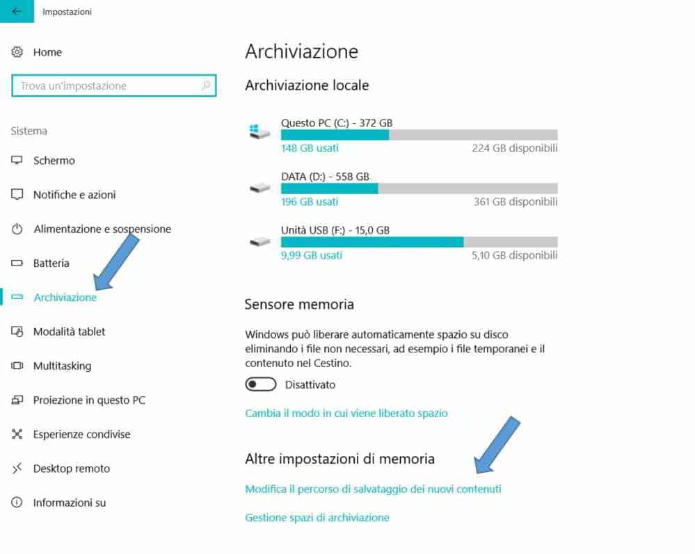 Windows 10 modifica percorso salvataggio app