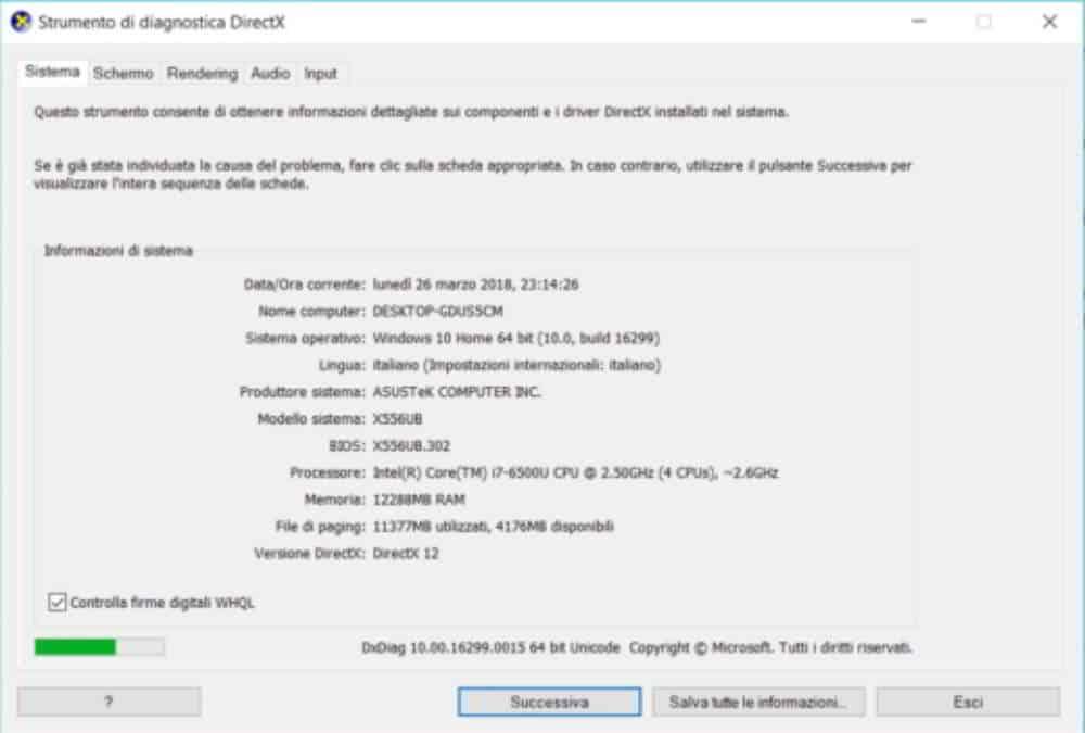 Come verificare la versione DirectX