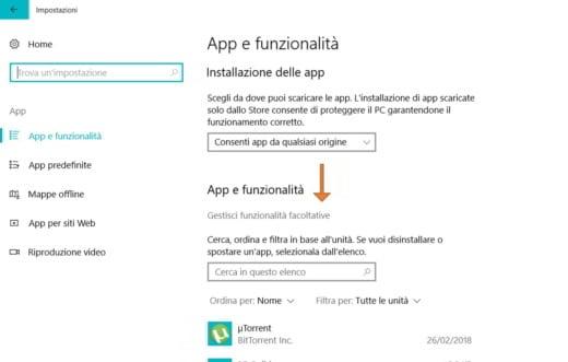 reinstallare Windows Media Player su Windows 10
