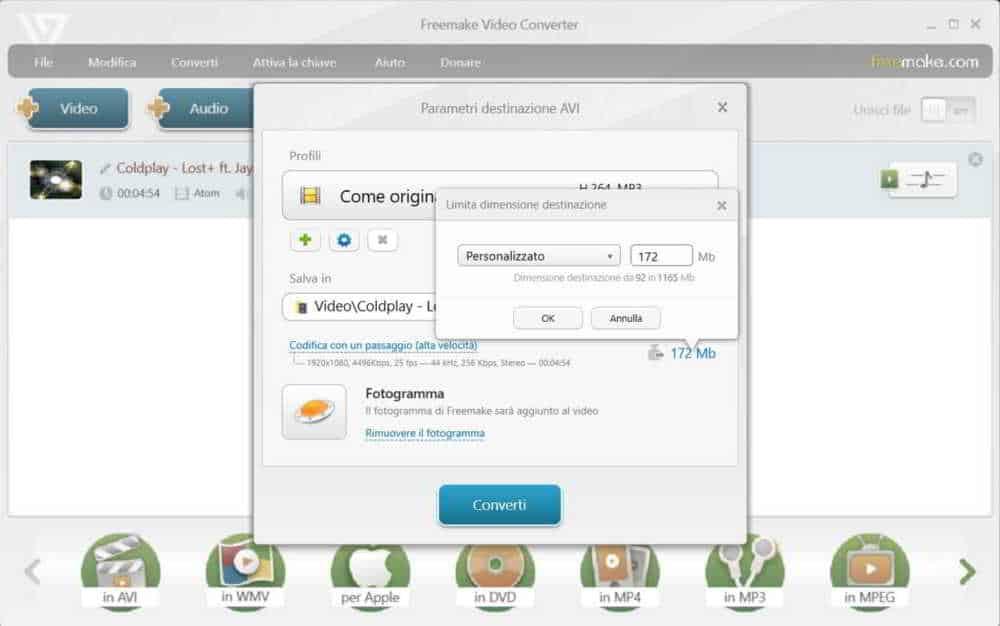 Convertire un video con Freemake video converter