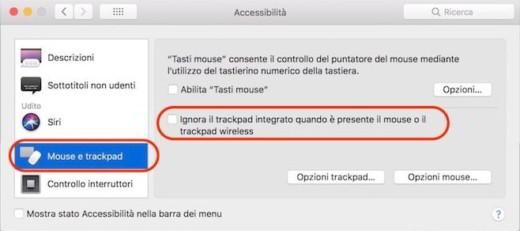 disattiva trackpad Mac