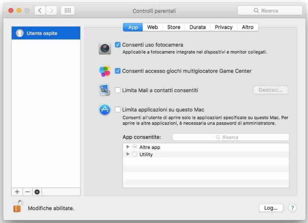 Come disabilitare webcam Mac