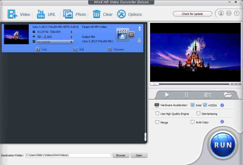 Editing di WinX HD Video Converter Deluxe