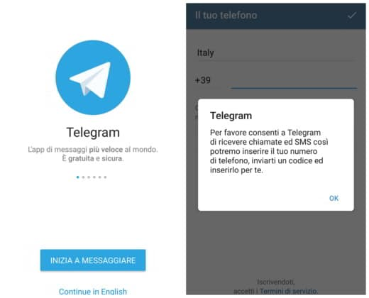Come configurare telegram