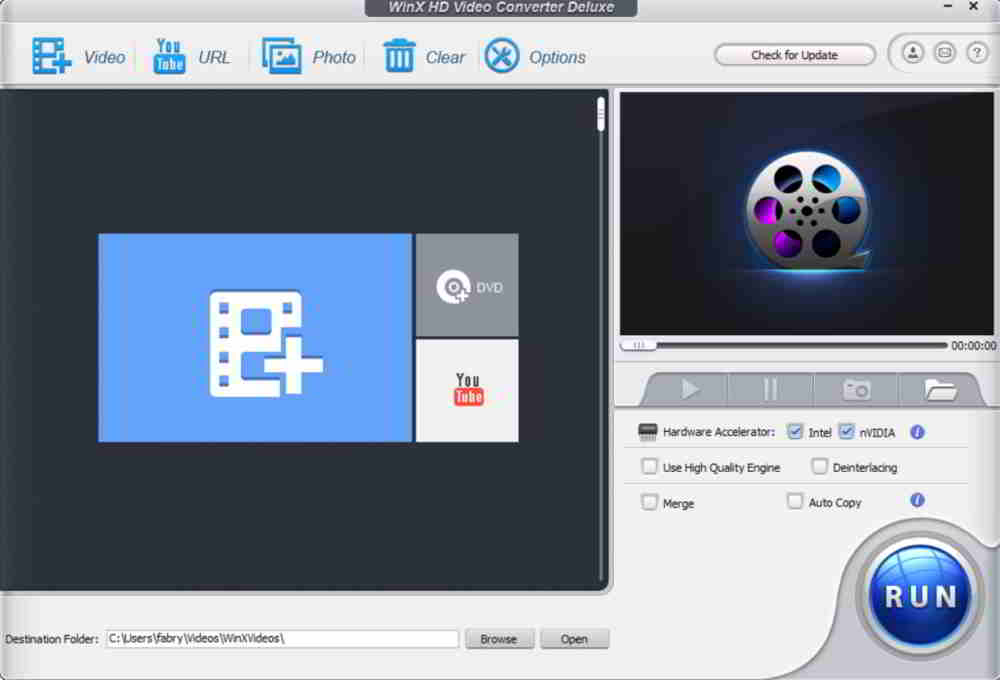 Interfaccia di WinX HD Video Converter Deluxe