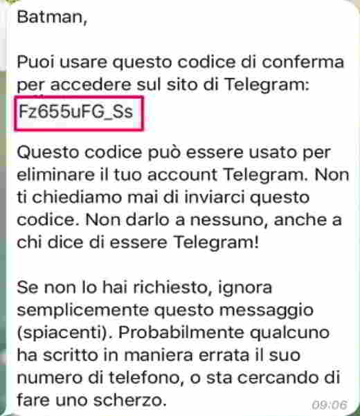 Confirmation code telegram