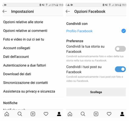 collegare instagram a facebook android