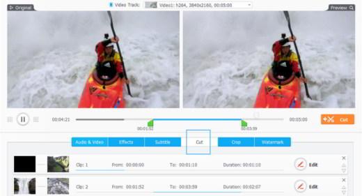 Tagliare le clip indesiderate e ridurre la lunghezza del video GoPro