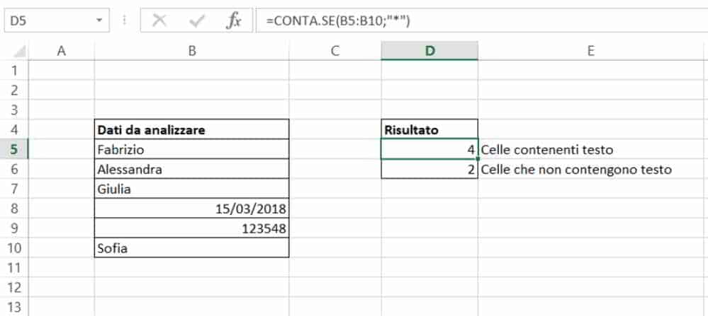 Come contare celle con testo in Excel