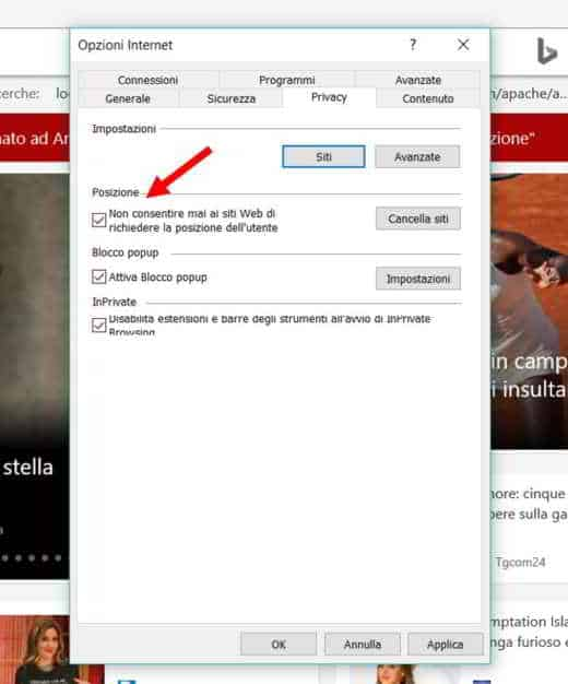 Come bloccare la localizzazione su Internet Explorer 11