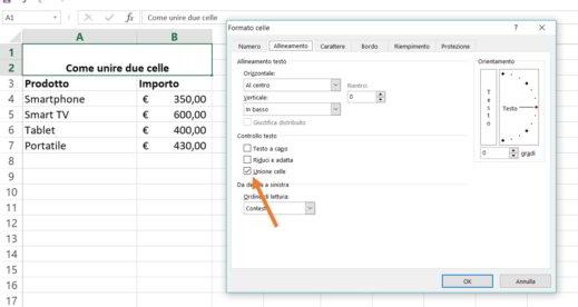 Come unire due celle Excel