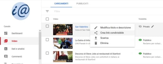come visualizzare un video privato