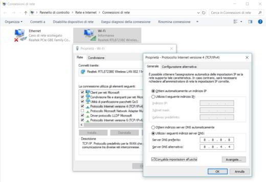 Come cambiare DNS su windows 10