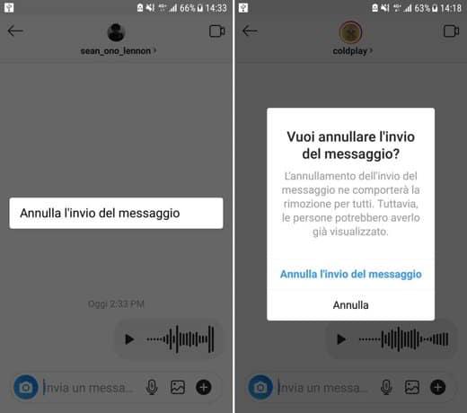 annullare invio messaggio vocale Instagram