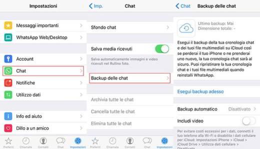 ripristinare chat whatsapp