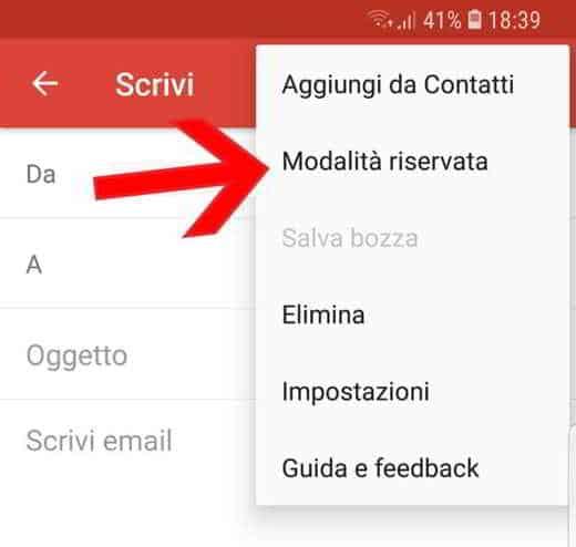 gmail come funziona modalità riservata