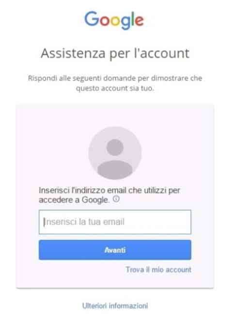 gmail password dimenticata