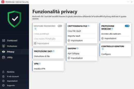 privacy bitdefender internet security 2019 - Bitdefender Internet Security 2020: guida e recensione