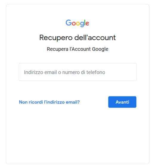 recupero account google
